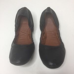 Lucky Brand Black Leather EmmIe Scrunched Flats